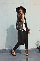 black anagon hat - vintage blazer - beige Paradigm Shift top - black Paradigm Sh