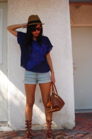 urbanoutfitters hat - vintage top - vintage purse - jeffrey cambell shoes