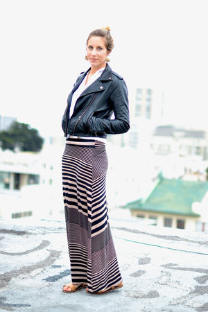 Urban Outfitters shirt - leather Doma jacket - striped maxi Splendid skirt