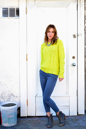 chartreuse neon cable knit Urban Outfitters sweater