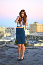 navy striped Zara shirt - navy pencil Better B skirt