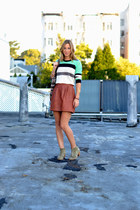 brown leather madewell skirt - tan madewell boots