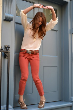 ivory Zara blouse - brown vintage belt - red cropped Urban Outfitters pants