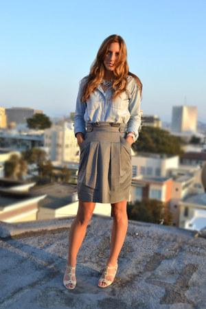 heather gray BCBG skirt - light blue chambray madewell shirt