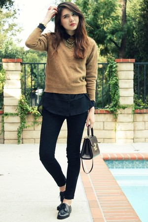 brown vintage sweater - black H&M blouse - black James Jeans jeans - black Via S