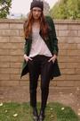 Green-gap-coat-white-forever-21-top-black-bebe-pants-black-forever-21-hat-