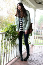 green volcom jacket - blue Vintage Ralph Lauren top - blue free people jeans - b