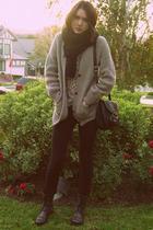 black Steve Madden boots - beige leopard vintage sweater - beige vintage sweater