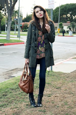 olive green asos jacket - blue Rich &amp; Skinny jeans - purple moschino cheap &amp; chi