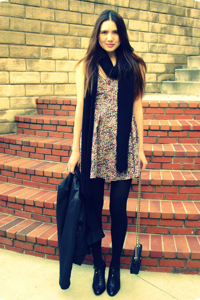 pink Urban Outfitters dress - black H&M scarf - black H&M hat - blue vintage bal