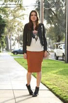 burnt orange asos skirt - black vintage boots - black True Religion jacket