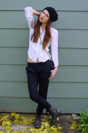 white vintage blouse - black Bebe belt - black Forever 21 hat - black Steve Madd