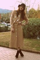 black kate spade boots - black Forever 21 hat - camel H&M sweater - camel vintag