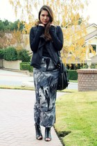 blue MinkPink skirt - black obey jacket - black volcom top - black modcloth shoe