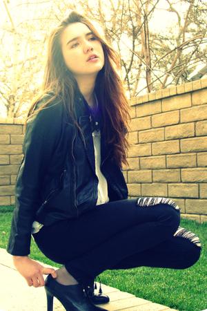 black Zara jacket - black Forever 21 jeans - white Alexander Wang blouse - silve