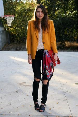 red vintage scarf - black Crossroads Trading Co shoes - black J Brand jeans