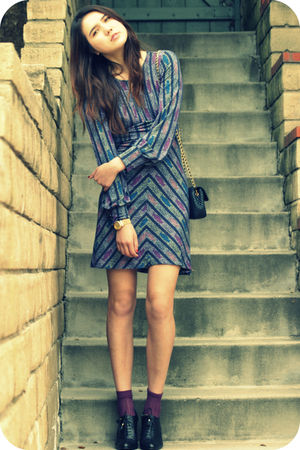 purple Anna Sui socks - black banana republic shoes - purple free people dress