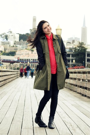 black vintage boots - olive green storets coat - black sold design lab jeans - h