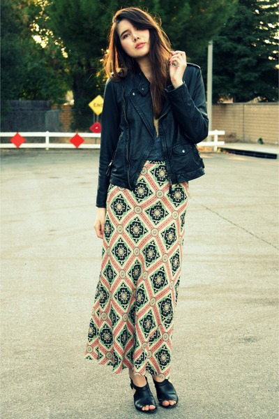 pink vintage skirt - black Zara jacket - gray Forever 21 top - black Crossroads