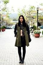 black vintage boots - olive green storets coat - black sold design lab jeans - c