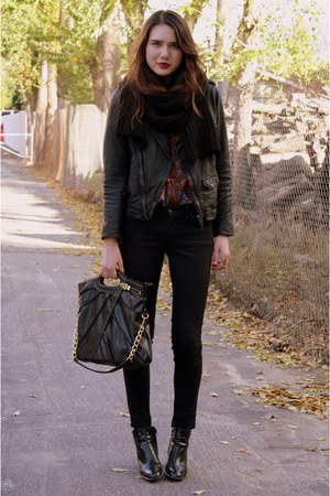 deep purple vintage top - black Zara jacket - black James Jeans jeans - black vi