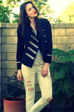 black Forever 21 jacket - white Forever 21 shirt - white abercrombie & fitch jea
