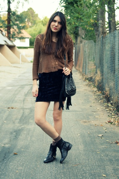blue modcloth skirt - brown storets sweater - black vintage boots - black melie