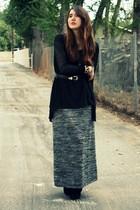 gray modcloth dress - black modcloth top - black modcloth shoes - black vintage