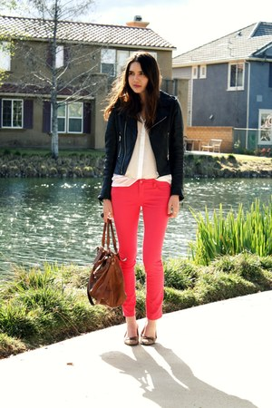 hot pink Forever 21 pants - black True Religion jacket