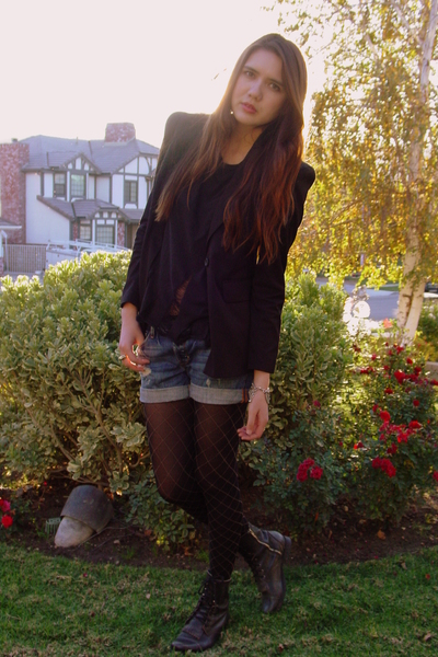 blue hollister shorts - black Steve Madden boots - black Bebe blazer