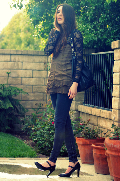 black lace Forever 21 top - brown free people top - black banana republic shoes