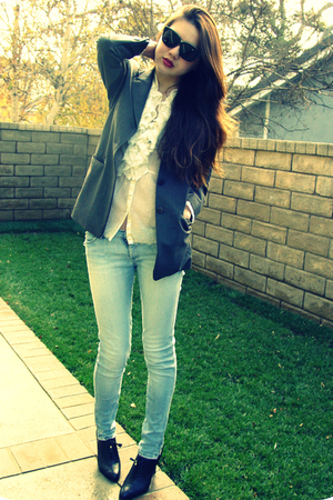 gray DKNY blazer - black banana republic shoes - blue Ksubi jeans