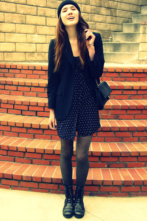 gray Ross tights - black Steve Madden boots - blue quicksilver dress
