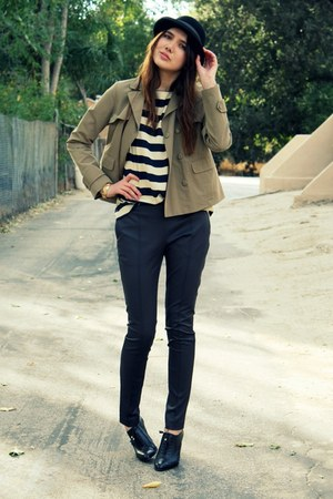 navy vintage top - puce H&amp;M pants - camel Gap jacket - black Banan republic jack