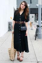 black vintage dress - brown Ayelet Shachar belt - brown seychelles shoes - blue