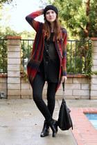 maroon Anthropologie sweater - black DKNY top - black James Jeans jeans - black