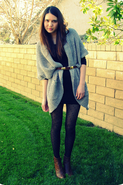 gray Forever 21 sweater - black Akira dress - brown vintage belt - brown stuart