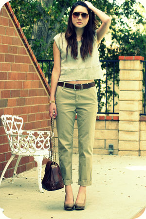 beige vintage vest - beige Urban Outfitters pants - beige seychelles shoes - bro