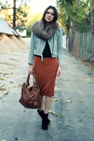 burnt orange asos skirt - light blue Gap jacket - black Bebe sweater - black kat