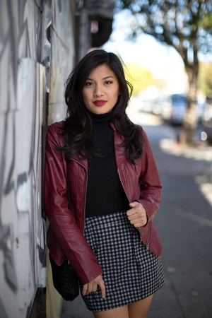 moto jacket Guess jacket - checkered Zara skirt