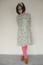 bubble gum unknown brand tights - olive green vintage dress unknown brand dress