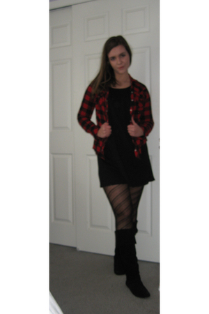black Target dress - black Wet Seal tights - black Steve Madden boots - red Targ