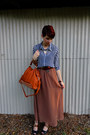 Brown-forever-21-skirt-navy-chiffon-forever-21-shirt-tawny-bag
