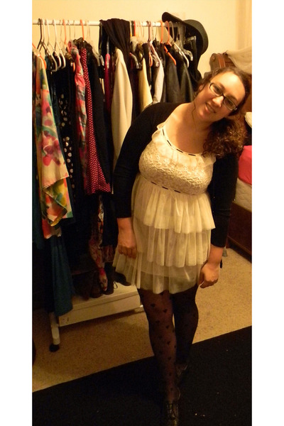 black heart tights - cream dress - black cardigan - black flats