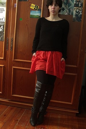 black boots - red Zara dress - black Mango sweater