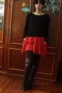 Black-boots-red-zara-dress-black-mango-sweater