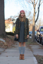lace up booties asos boots - H&M dress - dip dyed J Crew scarf - thrifted vintag