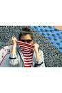 Red-striped-portsman-top-black-patterned-diy-leggings
