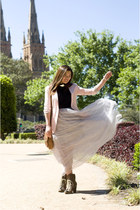 light blue maxi tutu asos skirt - light brown leather Glassons boots