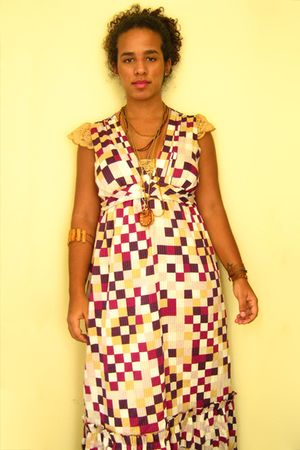 gold Farm necklace - pink maria fil dress